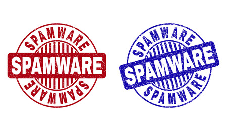 Grunge SPAMWARE round stamp seals isolated on a white background. Round seals with grunge texture in red and blue colors. Vector rubber imprint of SPAMWARE caption inside circle form with stripes.