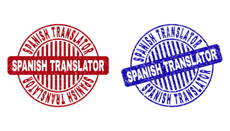Grunge SPANISH TRANSLATOR round stamp seals isolated on a white background. Round seals with grunge texture in red and blue colors.