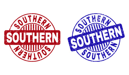 Grunge SOUTHERN round stamp seals isolated on a white background. Round seals with distress texture in red and blue colors. Vector rubber imitation of SOUTHERN text inside circle form with stripes.