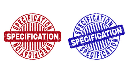 Grunge SPECIFICATION round stamp seals isolated on a white background. Round seals with grunge texture in red and blue colors. Stock Illustratie