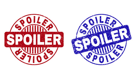 Grunge SPOILER round stamp seals isolated on a white background. Round seals with grunge texture in red and blue colors. Vector rubber imitation of SPOILER title inside circle form with stripes.