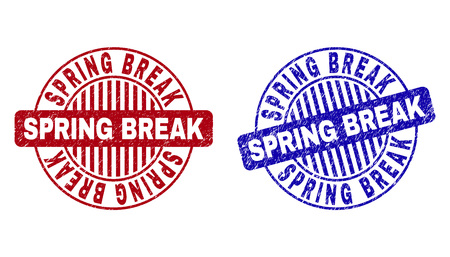 Grunge SPRING BREAK round stamp seals isolated on a white background. Round seals with grunge texture in red and blue colors.