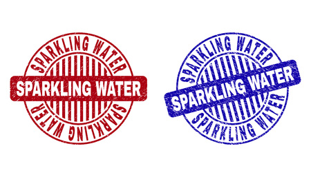 Grunge SPARKLING WATER round stamp seals isolated on a white background. Round seals with distress texture in red and blue colors. Иллюстрация
