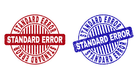 Grunge STANDARD ERROR round stamp seals isolated on a white background. Round seals with grunge texture in red and blue colors.