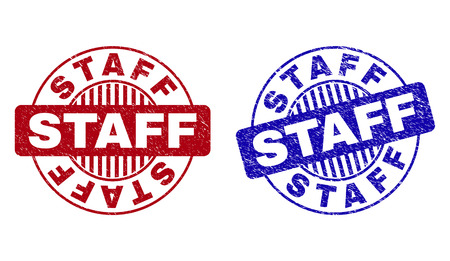 Grunge STAFF round stamp seals isolated on a white background. Round seals with grunge texture in red and blue colors. Vector rubber watermark of STAFF caption inside circle form with stripes.