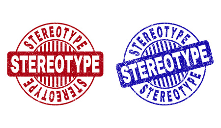 Grunge STEREOTYPE round stamp seals isolated on a white background. Round seals with grunge texture in red and blue colors. Vector rubber imprint of STEREOTYPE label inside circle form with stripes.