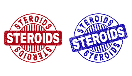 Grunge STEROIDS round stamp seals isolated on a white background. Round seals with grunge texture in red and blue colors. Vector rubber imprint of STEROIDS label inside circle form with stripes.