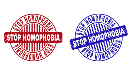Grunge STOP HOMOPHOBIA round stamp seals isolated on a white background. Round seals with grunge texture in red and blue colors.
