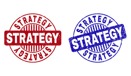 Grunge STRATEGY round stamp seals isolated on a white background. Round seals with grunge texture in red and blue colors. Vector rubber watermark of STRATEGY text inside circle form with stripes.