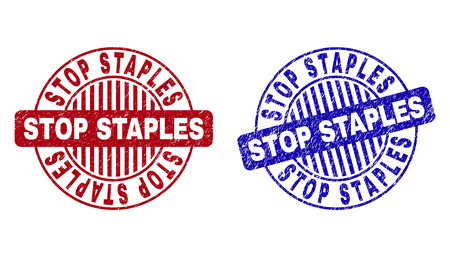 Grunge STOP STAPLES round watermarks isolated on a white background. Round seals with grunge texture in red and blue colors.