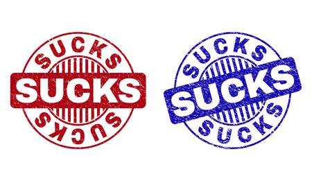 Grunge SUCKS round stamp seals isolated on a white background. Round seals with distress texture in red and blue colors. Vector rubber imitation of SUCKS caption inside circle form with stripes. Ilustração