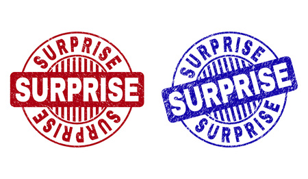 Grunge SURPRISE round stamp seals isolated on a white background. Round seals with grunge texture in red and blue colors. Vector rubber watermark of SURPRISE tag inside circle form with stripes.