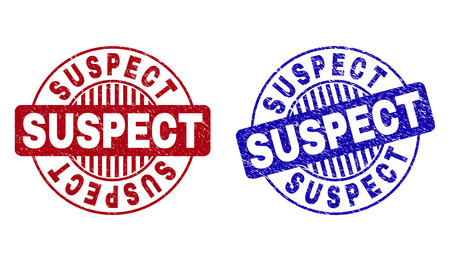 Grunge SUSPECT round stamp seals isolated on a white background. Round seals with grunge texture in red and blue colors. Vector rubber watermark of SUSPECT label inside circle form with stripes.