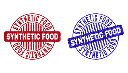 Grunge SYNTHETIC FOOD round stamp seals isolated on a white background. Round seals with grunge texture in red and blue colors.
