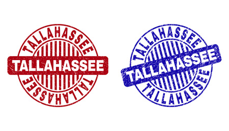Grunge TALLAHASSEE round stamp seals isolated on a white background. Round seals with grunge texture in red and blue colors.