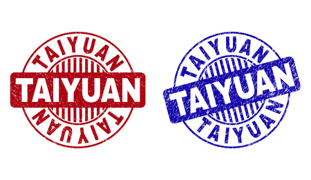 Grunge TAIYUAN round stamp seals isolated on a white background. Round seals with grunge texture in red and blue colors. Vector rubber imprint of TAIYUAN text inside circle form with stripes.