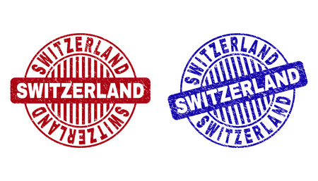 Grunge SWITZERLAND round stamp seals isolated on a white background. Round seals with grunge texture in red and blue colors.