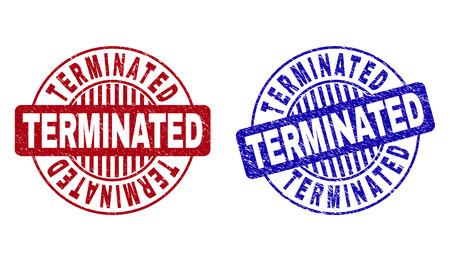 Sellos de sello redondo de Grunge TERMINADOS aislados sobre un fondo blanco. Sellos redondos con textura grunge en colores rojo y azul. Superposición de goma de vector de texto TERMINADO dentro de forma de círculo con rayas. Ilustración de vector