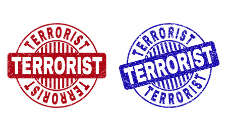 Grunge TERRORIST round stamp seals isolated on a white background. Round seals with grunge texture in red and blue colors. Vector rubber overlay of TERRORIST label inside circle form with stripes. Vectores