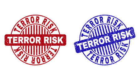 Grunge TERROR RISK round stamp seals isolated on a white background. Round seals with distress texture in red and blue colors.
