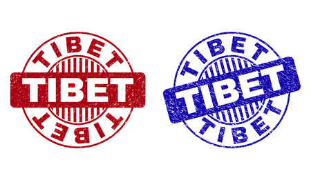 Grunge TIBET round stamp seals isolated on a white background. Round seals with grunge texture in red and blue colors. Vector rubber imprint of TIBET caption inside circle form with stripes.