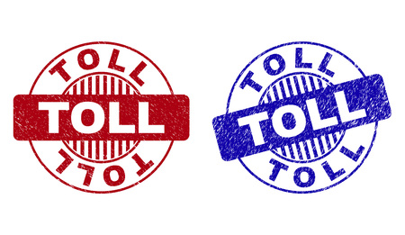 Grunge TOLL round stamp seals isolated on a white background. Round seals with grunge texture in red and blue colors. Vector rubber imprint of TOLL tag inside circle form with stripes.