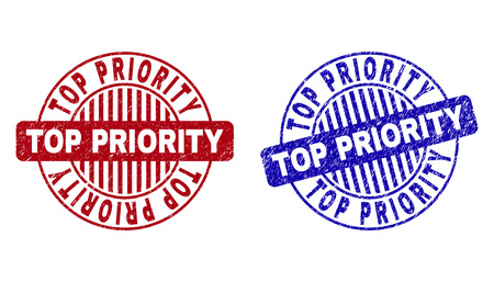 Grunge TOP PRIORITY round stamp seals isolated on a white background. Round seals with distress texture in red and blue colors.