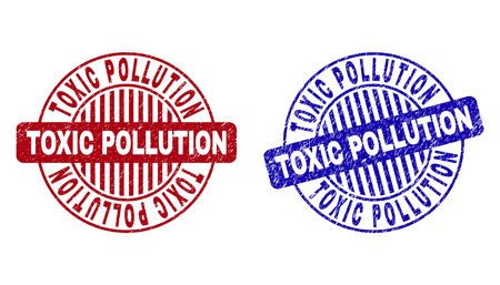 Grunge TOXIC POLLUTION round stamp seals isolated on a white background. Round seals with grunge texture in red and blue colors.