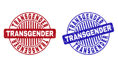 Grunge TRANSGENDER round stamp seals isolated on a white background. Round seals with grunge texture in red and blue colors. Vector rubber overlay of TRANSGENDER label inside circle form with stripes.