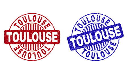 Grunge TOULOUSE round stamp seals isolated on a white background. Round seals with grunge texture in red and blue colors. Vector rubber imprint of TOULOUSE tag inside circle form with stripes. Ilustração
