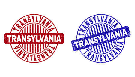 Grunge TRANSYLVANIA round stamp seals isolated on a white background. Round seals with grunge texture in red and blue colors.
