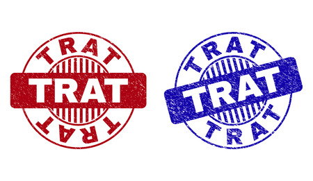 Grunge TRAT round stamp seals isolated on a white background. Round seals with grunge texture in red and blue colors. Vector rubber imprint of TRAT caption inside circle form with stripes.