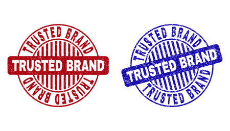 Grunge TRUSTED BRAND round stamp seals isolated on a white background. Round seals with grunge texture in red and blue colors.