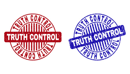 Grunge TRUTH CONTROL round stamp seals isolated on a white background. Round seals with grunge texture in red and blue colors.