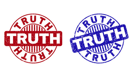 Grunge TRUTH round stamp seals isolated on a white background. Round seals with grunge texture in red and blue colors. Vector rubber imprint of TRUTH label inside circle form with stripes.