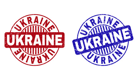 Grunge UKRAINE round stamp seals isolated on a white background. Round seals with grunge texture in red and blue colors. Vector rubber overlay of UKRAINE text inside circle form with stripes. 向量圖像