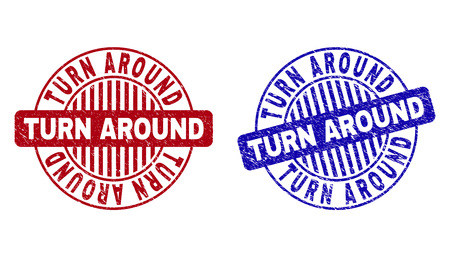 Grunge TURN AROUND round stamp seals isolated on a white background. Round seals with grunge texture in red and blue colors. 向量圖像