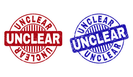 Grunge UNCLEAR round stamp seals isolated on a white background. Round seals with grunge texture in red and blue colors. Vector rubber imprint of UNCLEAR caption inside circle form with stripes. 일러스트