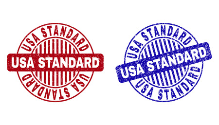 Grunge USA STANDARD round stamp seals isolated on a white background. Round seals with grunge texture in red and blue colors. Vector rubber imprint of USA STANDARD tag inside circle form with stripes.