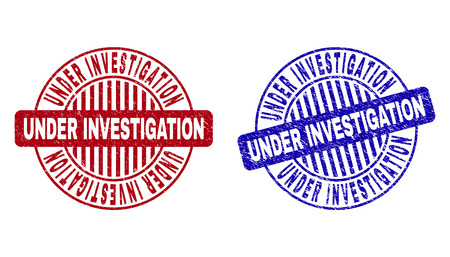 Grunge UNDER INVESTIGATION round stamp seals isolated on a white background. Round seals with grunge texture in red and blue colors.