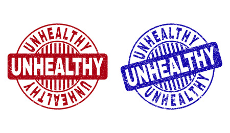 Grunge UNHEALTHY round stamp seals isolated on a white background. Round seals with grunge texture in red and blue colors. Vector rubber overlay of UNHEALTHY tag inside circle form with stripes.