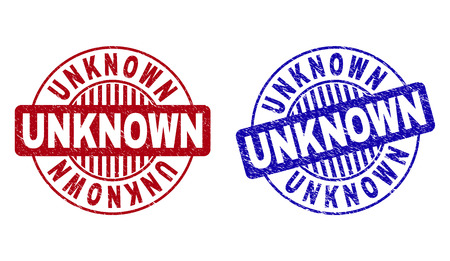 Grunge UNKNOWN round stamp seals isolated on a white background. Round seals with distress texture in red and blue colors. Vector rubber imitation of UNKNOWN caption inside circle form with stripes.