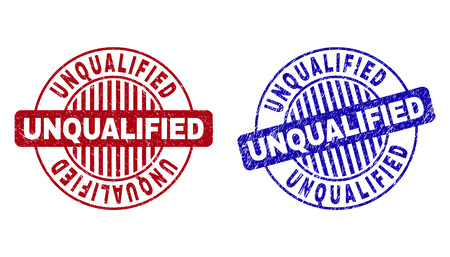 Grunge UNQUALIFIED round stamp seals isolated on a white background. Round seals with grunge texture in red and blue colors.