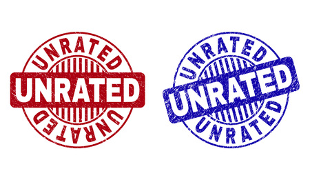 Grunge UNRATED round stamp seals isolated on a white background. Round seals with grunge texture in red and blue colors. Vector rubber overlay of UNRATED tag inside circle form with stripes.