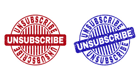 Grunge UNSUBSCRIBE round stamp seals isolated on a white background. Round seals with grunge texture in red and blue colors.