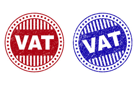 Grunge VAT round stamp seals isolated on a white background. Round seals with grunge texture in red and blue colors. Vector rubber imitation of VAT text inside circle form with stripes.
