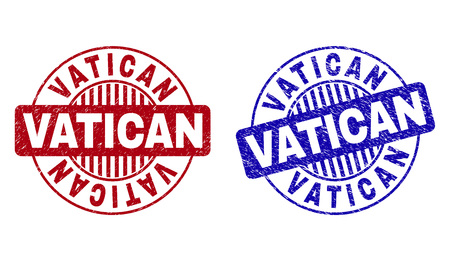 Grunge VATICAN round stamp seals isolated on a white background. Round seals with grunge texture in red and blue colors. Vector rubber imitation of VATICAN text inside circle form with stripes.