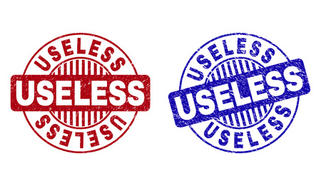 Grunge USELESS round stamp seals isolated on a white background. Round seals with grunge texture in red and blue colors. Vector rubber overlay of USELESS text inside circle form with stripes. Illustration