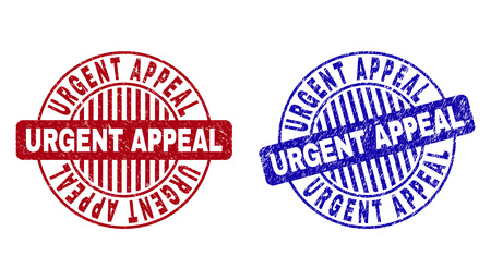 Grunge URGENT APPEAL round stamp seals isolated on a white background. Round seals with grunge texture in red and blue colors. Illusztráció