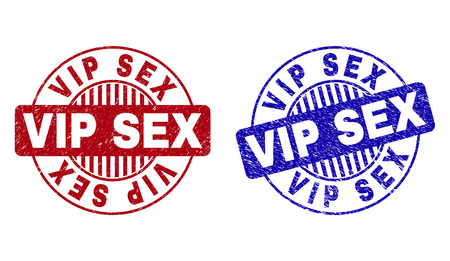 Grunge VIP SEX round stamp seals isolated on a white background. Round seals with grunge texture in red and blue colors. Vector rubber watermark of VIP SEX caption inside circle form with stripes. Çizim
